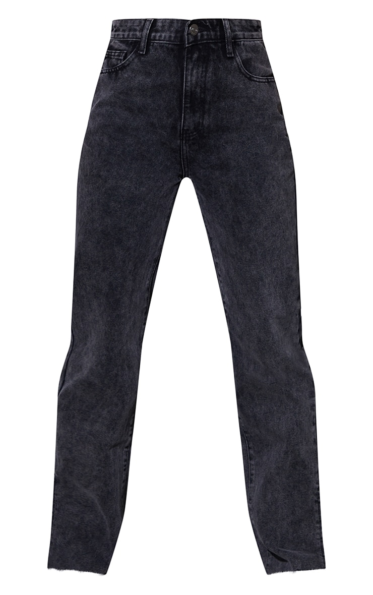 Black Acid Wash Raw Hem Split Hem Jeans 5