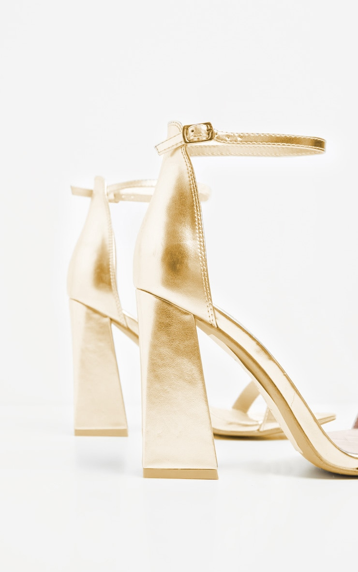 Gold High Block Heel Strappy Sandal 4