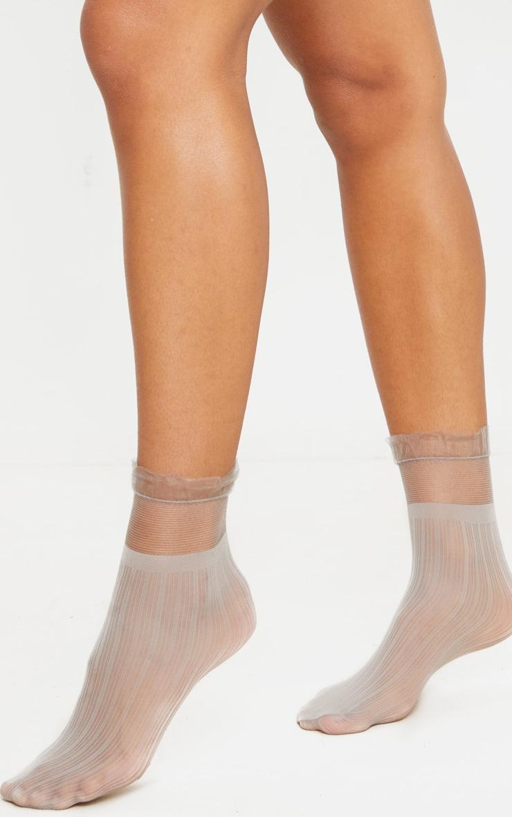 Light Grey Sheer Frill Socks 3