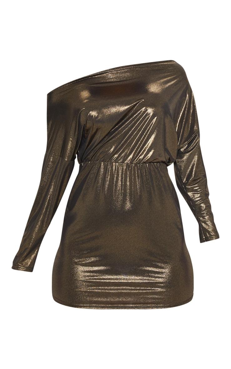 Gold Metallic Off Shoulder Bodycon Dress 3