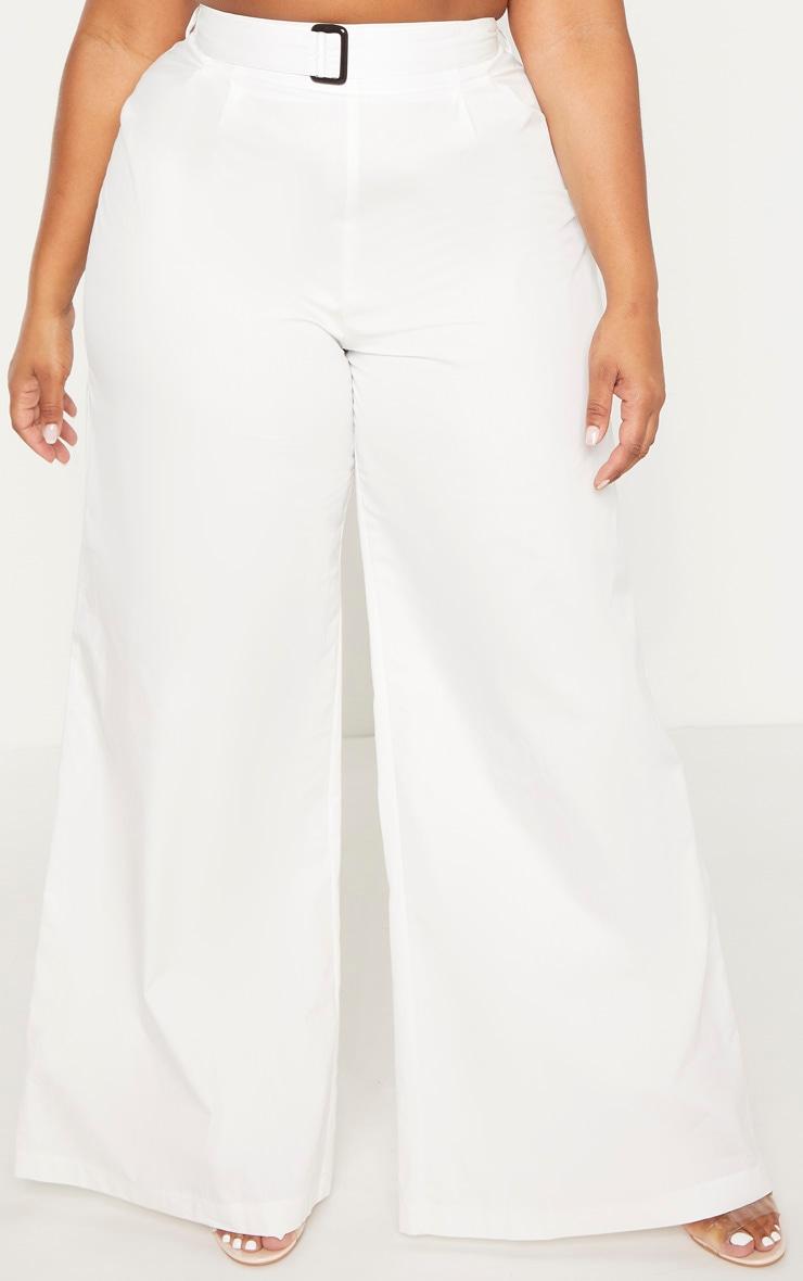 Plus White Tortoise Belt Woven Wide Leg Trouser 2