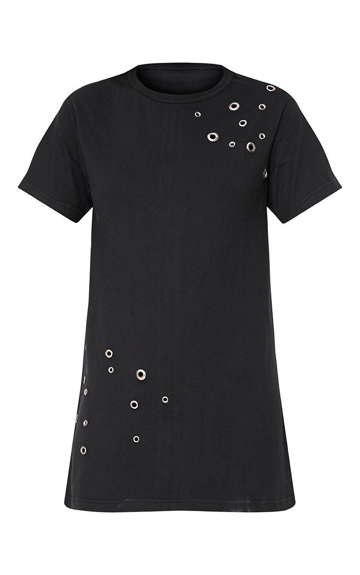 Black Jersey Eyelet Detail T Shirt Dress 3