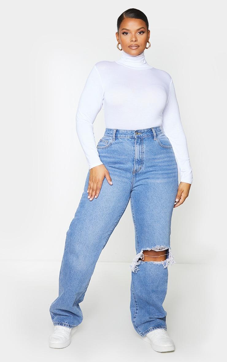 Plus Light Blue Wash Open Knee Long Leg Straight Leg Jeans 1