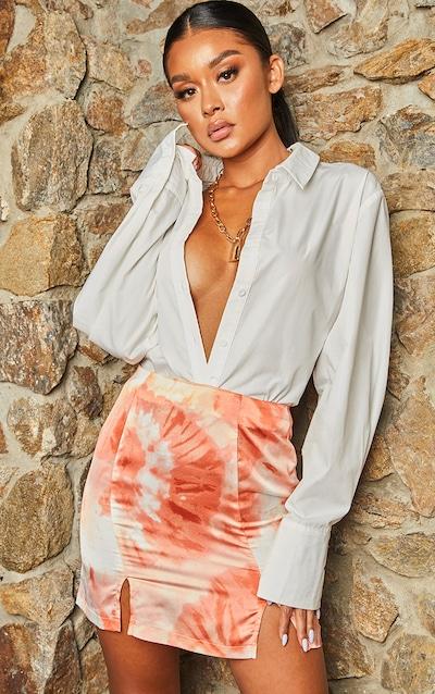 Orange Tie Dye Satin Double Split Mini Skirt