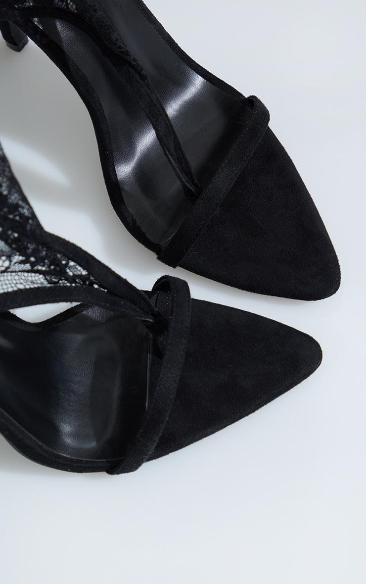Black Lace Toe Thong Thigh High Heels 3