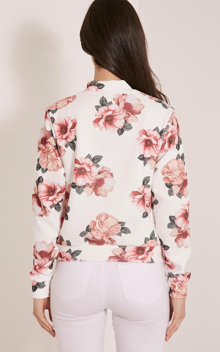 Emmah White Floral Ribbed Bomber Jacket 2