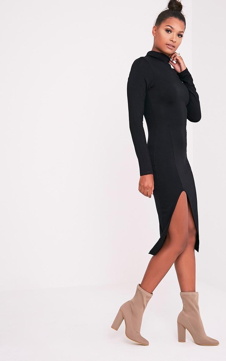 Fazena Black High Neck Side Split Midi Dress 5