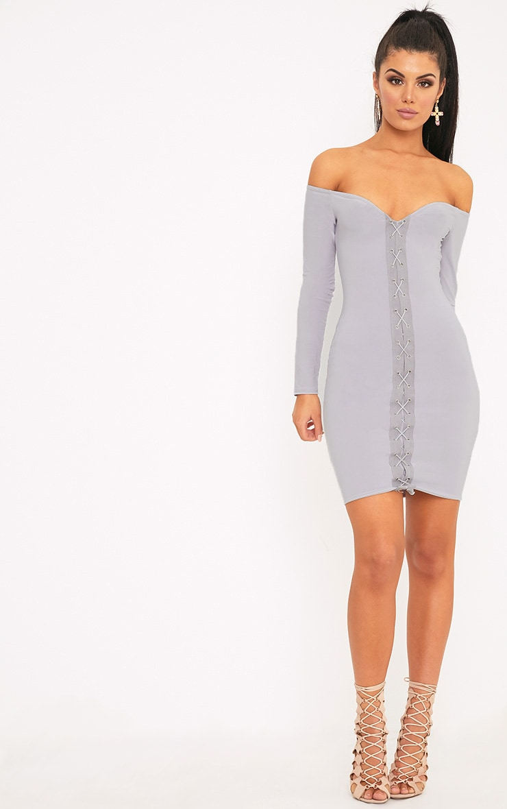 Margot Ice Grey Lace Up Bardot Bodycon Dress 3