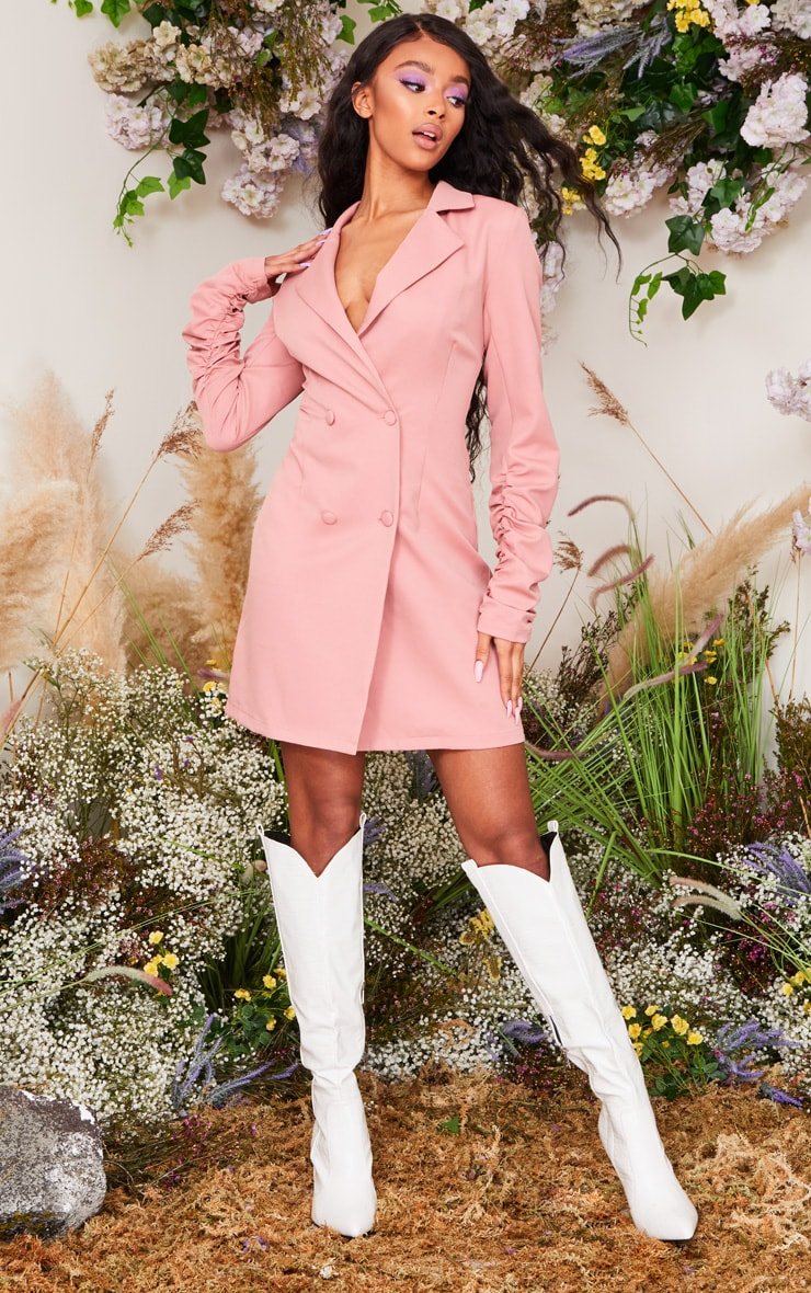 Rose Long Ruched Sleeve Woven Blazer Dress