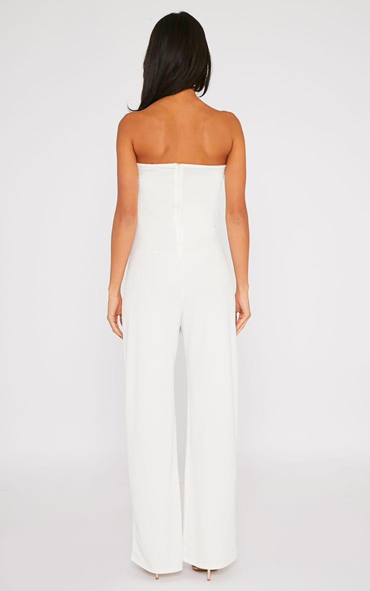 Cilla Cream Bandeau Leather Panel Wide Leg Jumpsuit 2