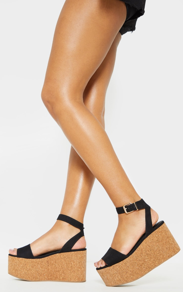 Black Double Flatform Cork Sandal  1