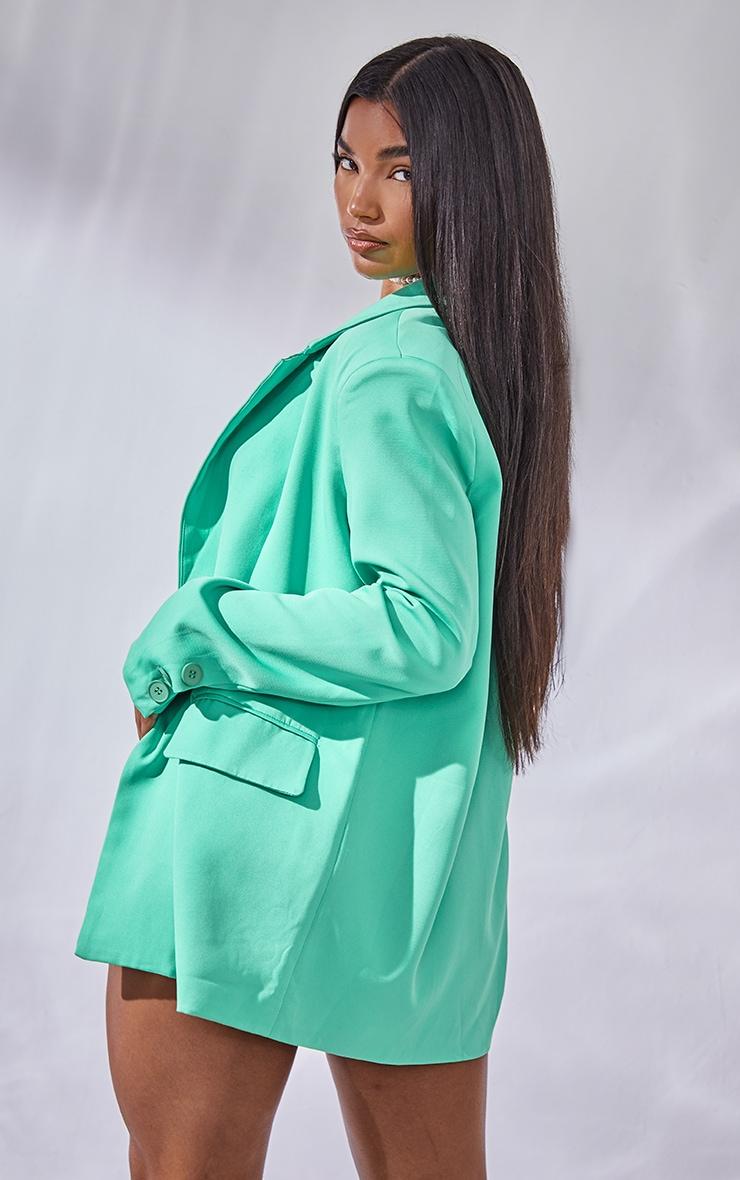 Green Single Breasted Shoulder Padded Blazer 2