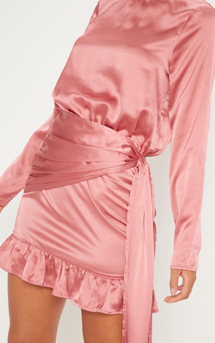 Rose Satin Drape Frill Hem Bodycon Dress 5