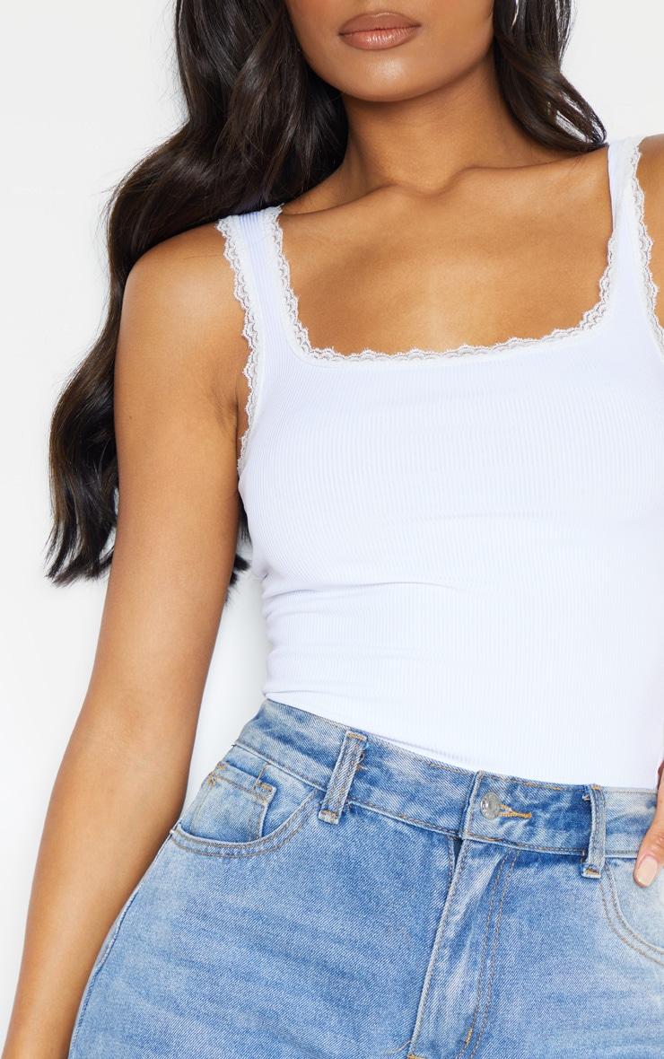 White Rib Lace Trim Vest 5