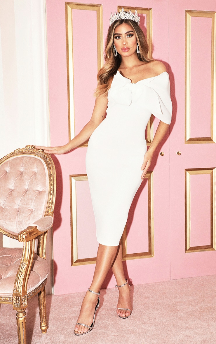 White Bow Detail Midi Dress