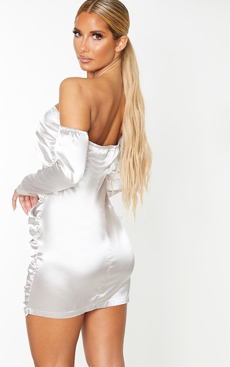 Silver Satin Zip Through Ruched Bardot Bodycon Dress 2