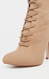 Mazy Nude Lace Up Sock Boots 4
