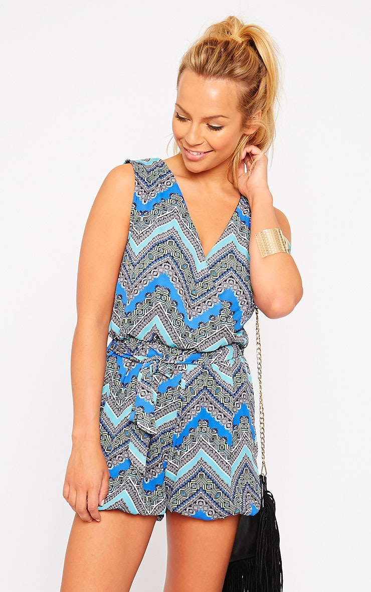 Kinsley Blue Printed Chiffon Playsuit 1