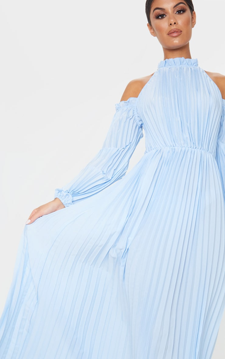 Dusty Blue Pleated Cold Shoulder Maxi Dress 5