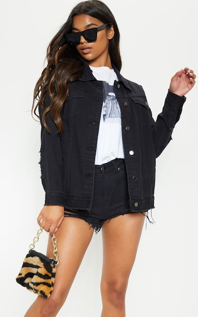 Aymeline Black Distressed Oversized Denim Jacket