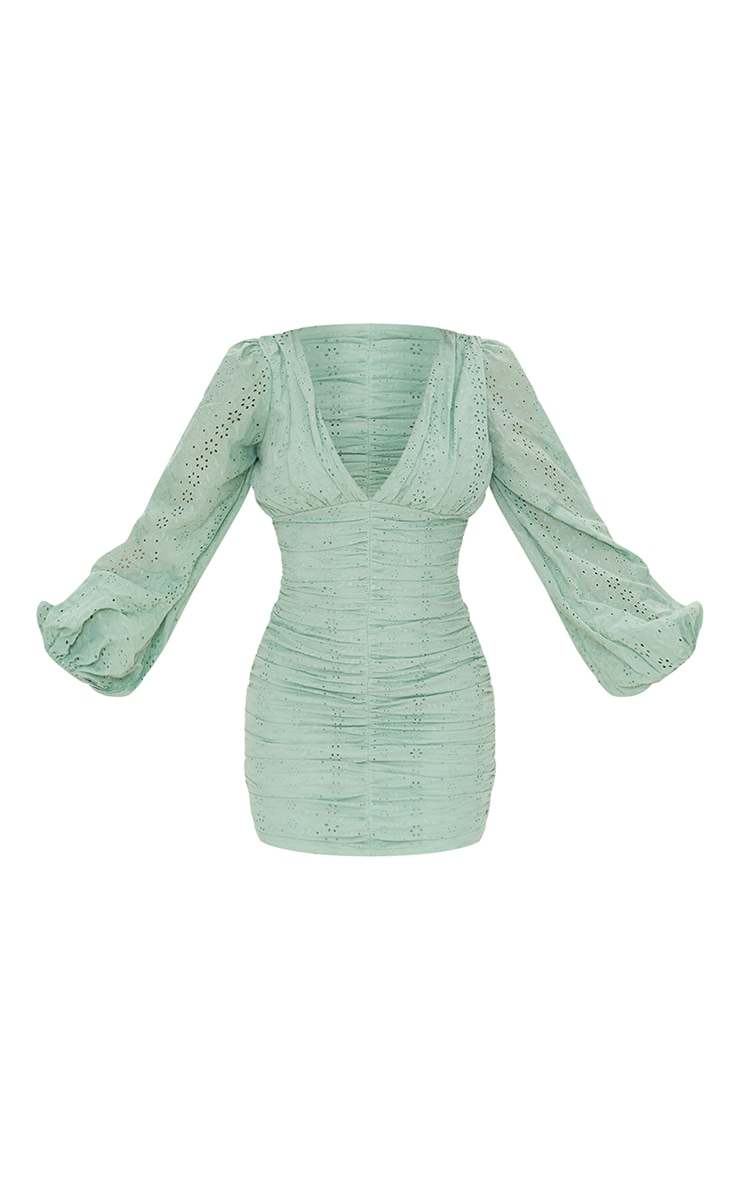 Sage Green Broderie Anglaise Ruched Balloon Sleeve Bodycon Dress 5