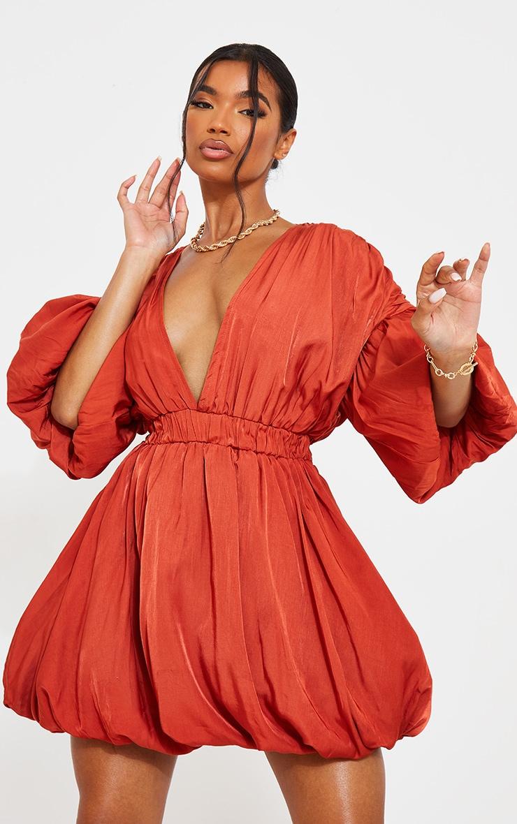 Terracotta Puff Sleeve Puffball Hem Shift Dress 3