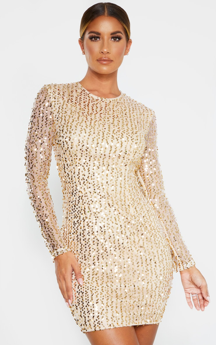 Gold Sequin Long Sleeved Bodycon Dress Prettylittlething