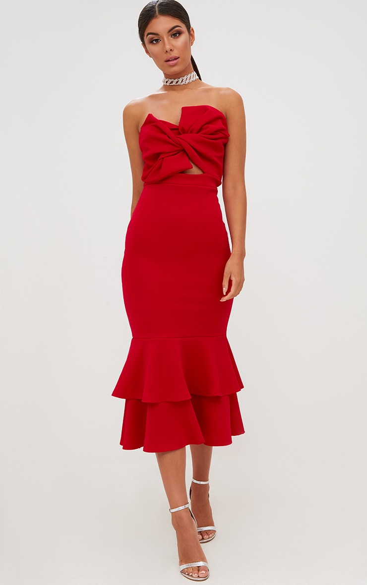 Red Scuba Bow Detail Frill Hem Midi Dress 4