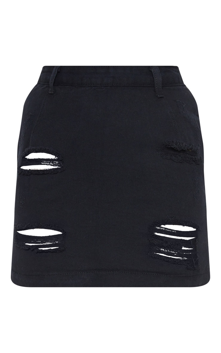 Roschian Super Distress Black High Waisted Denim Mini Skirt 3