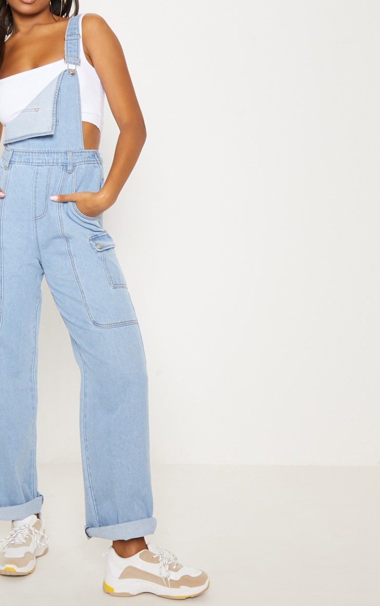 Light Wash Denim Wide Leg Dungarees 6