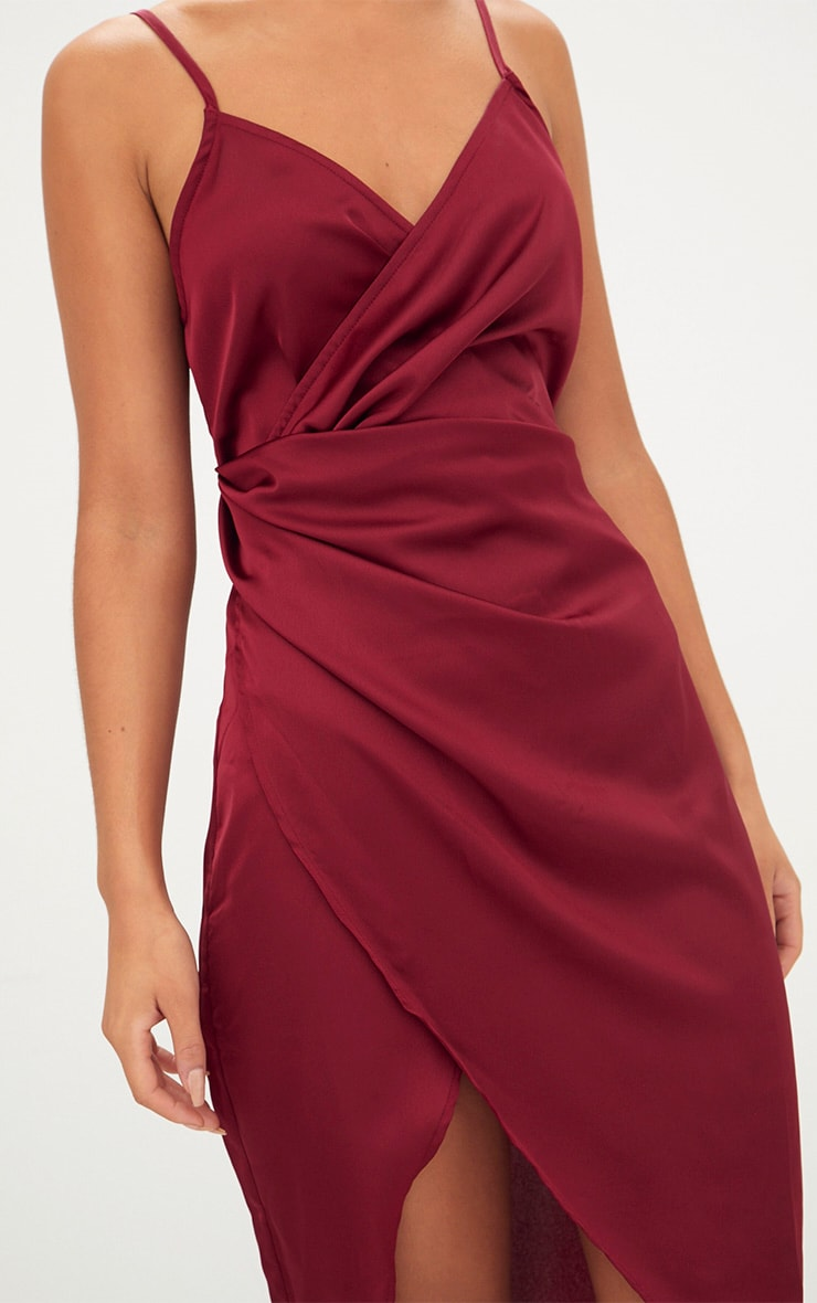 Burgundy Satin Strappy Twist Front Midi Dress 6