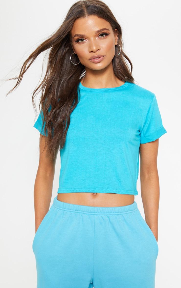 Basic Bright Blue Roll Sleeve T Shirt 1