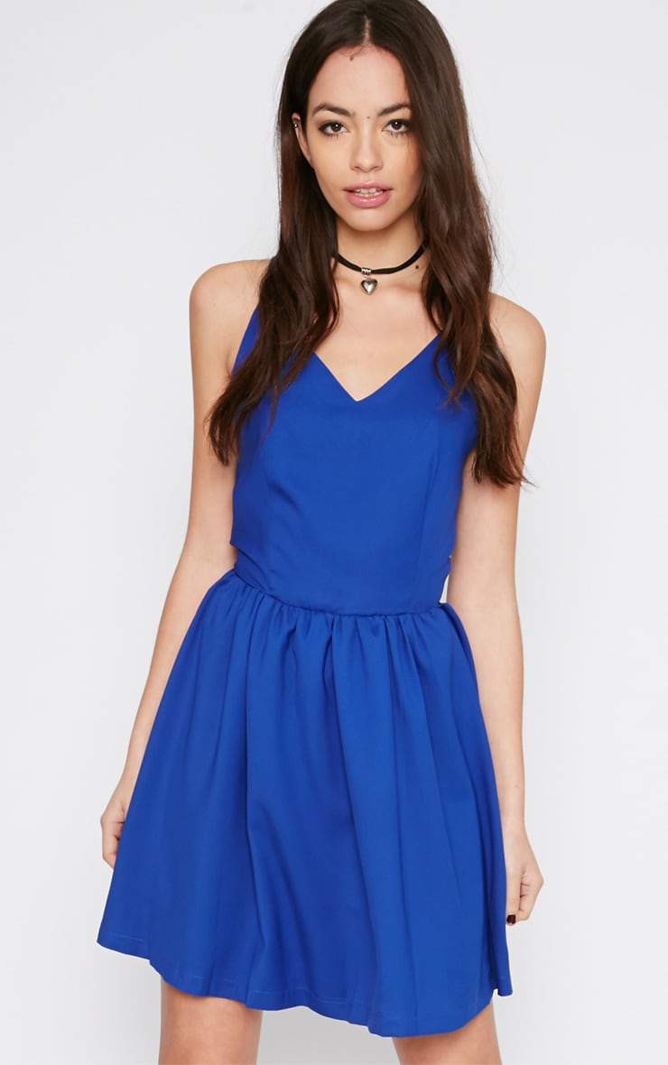 Issy Cobalt Cross Strap Skater Dress 1