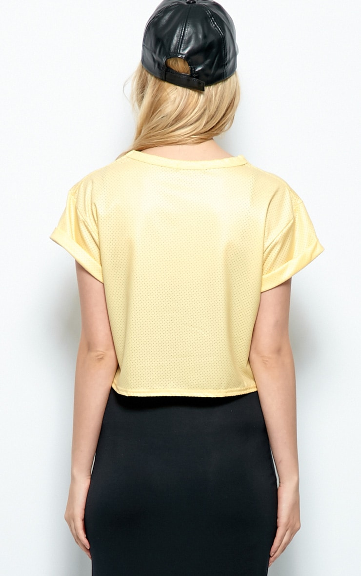 Hailey Gold Sport Mesh Crop Top  2
