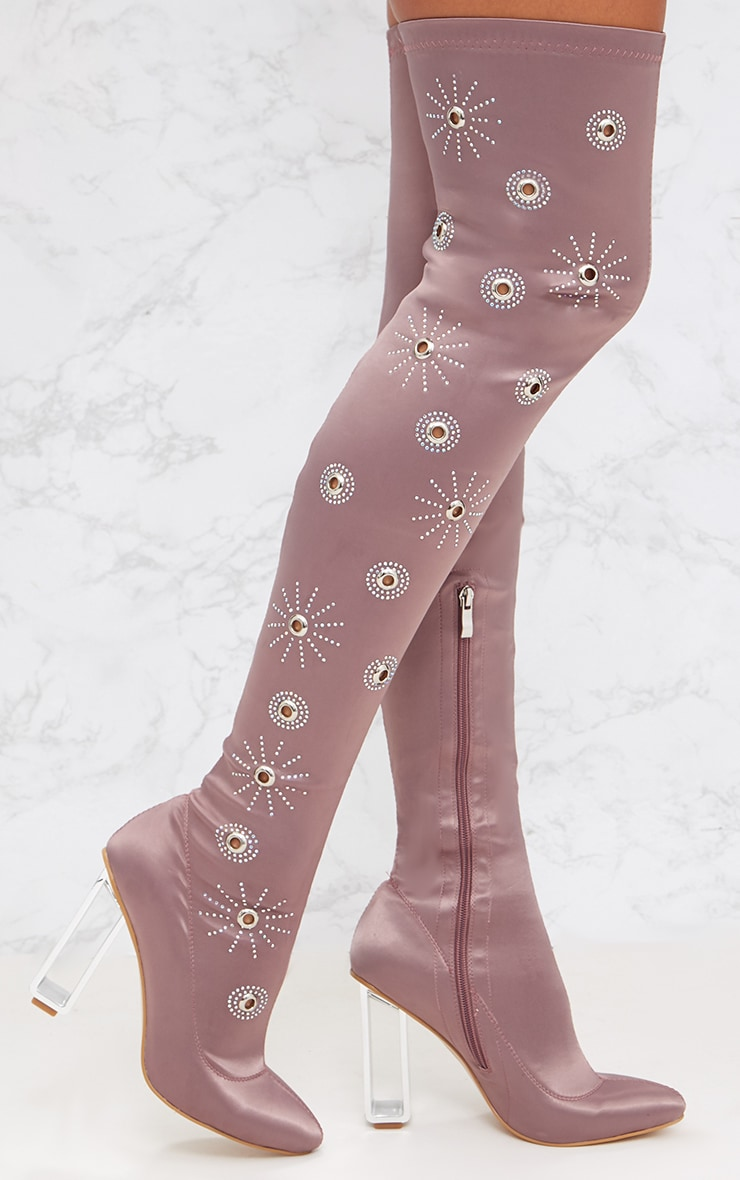 Pink Embellished Over The Knee Satin Skin Boot 1