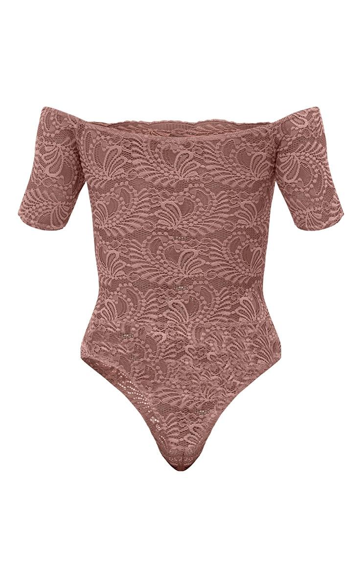 Truffle Bardot Lace Thong Bodysuit 4