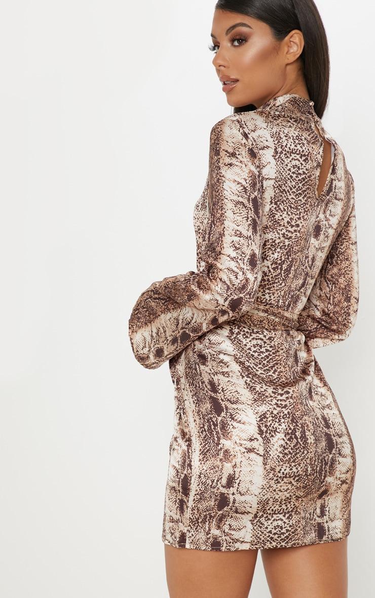 Tan Snake Print Satin High Neck Shift Dress 2