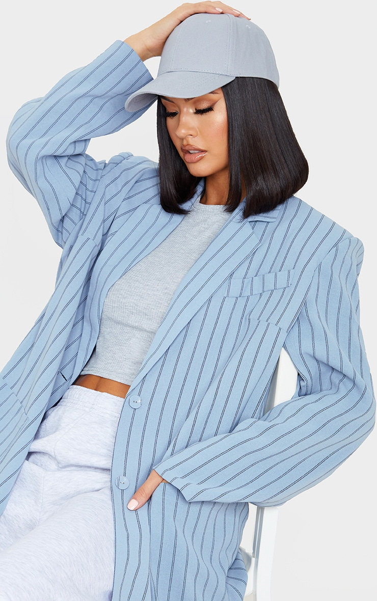 Grey Stripe Extreme Shoulder Padded Oversized Blazer 5