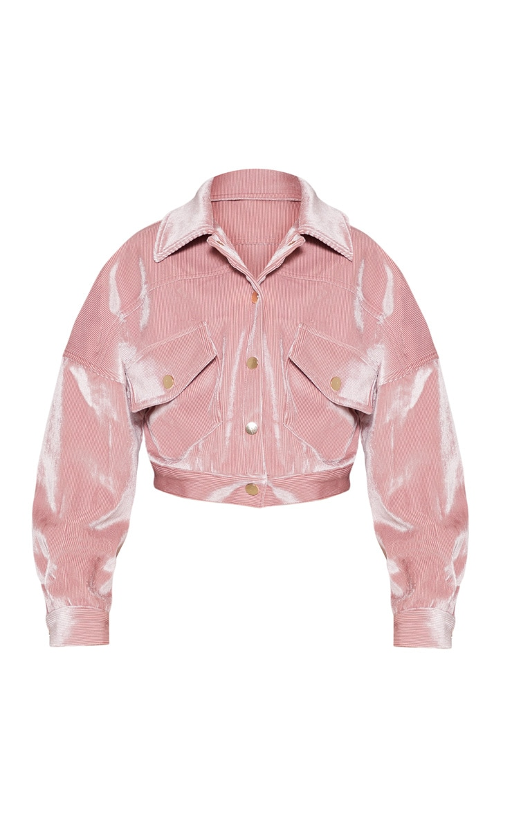 Pink Cropped Cord Oversized Trucker Jacket 4