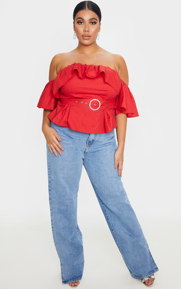 Plus Red Frilled Detail Belted Crop Top 4