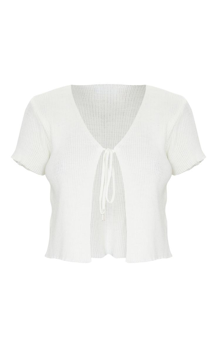 Cream Short Sleeve Tie Front Cardigan 5