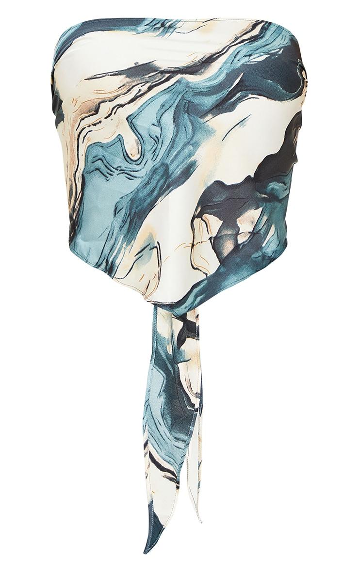 Blue Woven Printed Bandana Style Bandeau Top 5