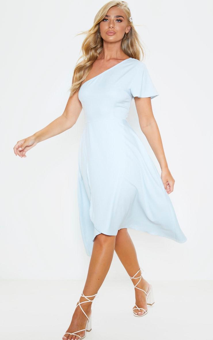 Dusty Blue Ruffle One Shoulder Midi Dress 4