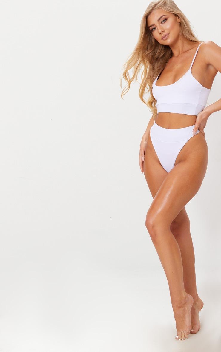 White Crinkle Elasticated Bikini Top 3