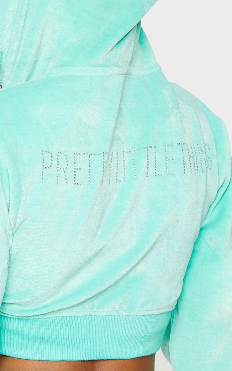 PRETTYLITTLETHING Shape Mint Velour Extreme Crop Sweatshirt 4