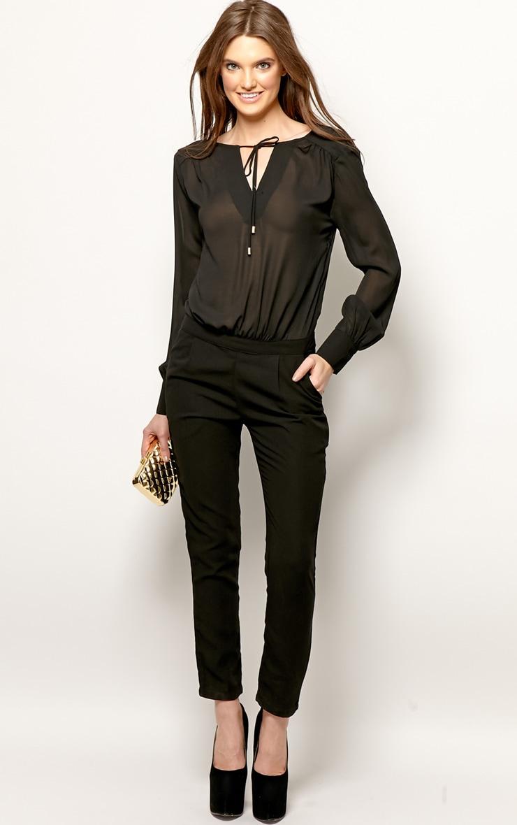 Cailin Black Chiffon Jumpsuit-M 4