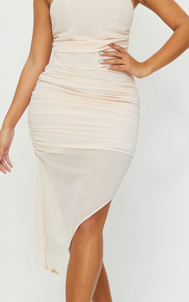 Shape Nude Chiffon Ruched Bandeau Drape Midi Dress 4