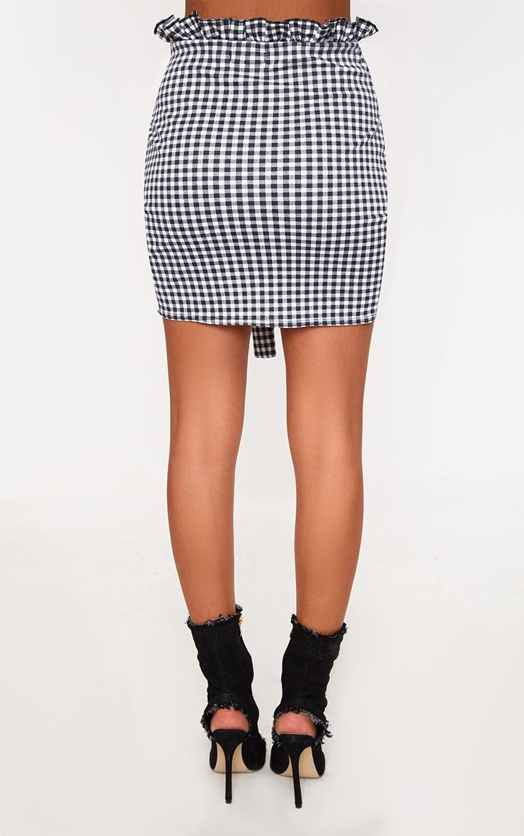 Black Gingham Paperbag Waist Wrap Hem Mini Skirt 4