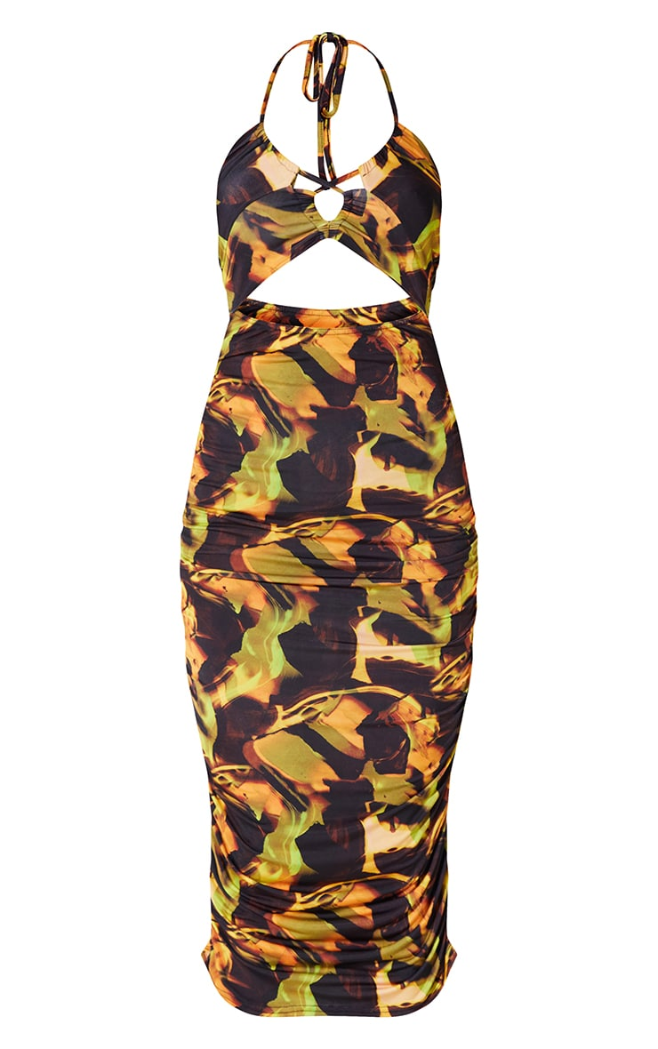 Black Multi Abstract Print Slinky Halterneck Cut Out Detail Ruched Dress 5