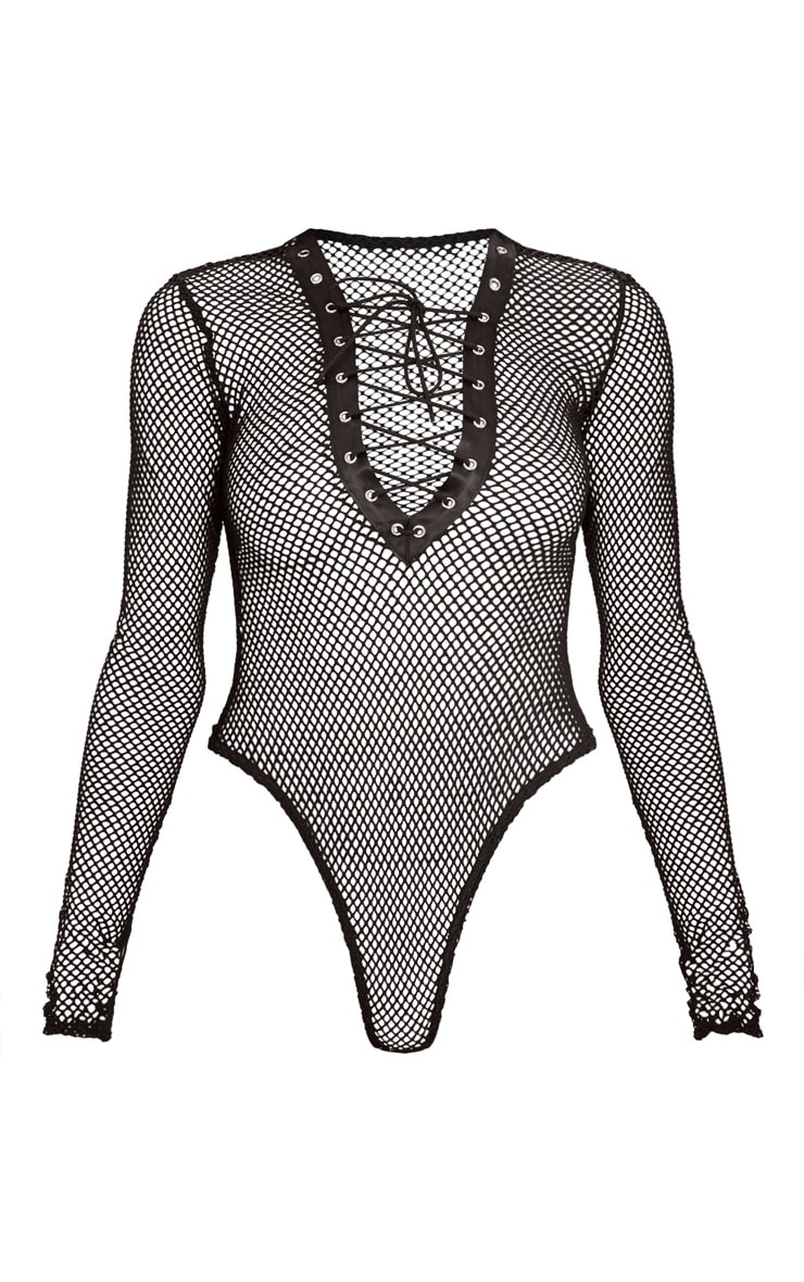 Black Fishnet Lace Up Thong Bodysuit  3